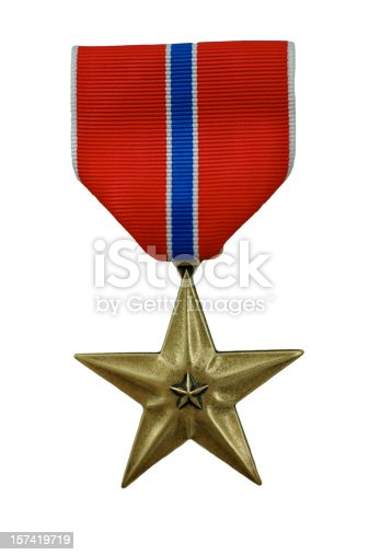 United States bronze star medal isolated on white with clipping path.