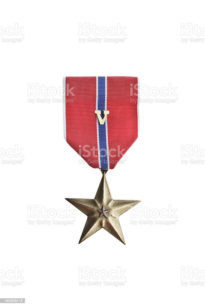 Bronze Star Medal With V stock photo