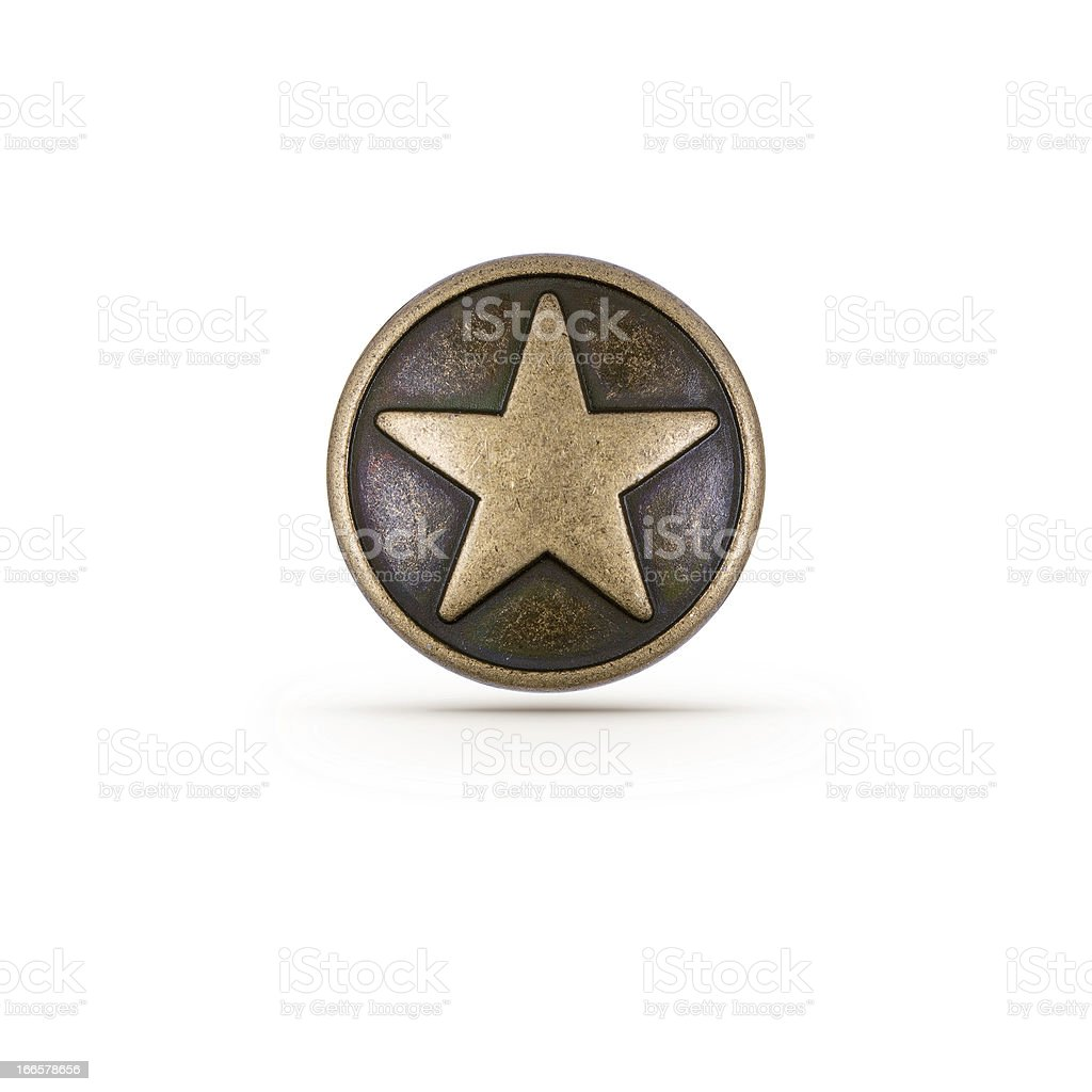 Bronze star symbol on a shield over a white background stock photo