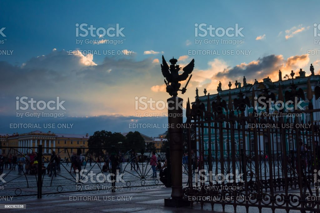 Bronze State two-headed eagle on the fence of the Alexander Column on The Palace Square in St. Petersburg stock photo