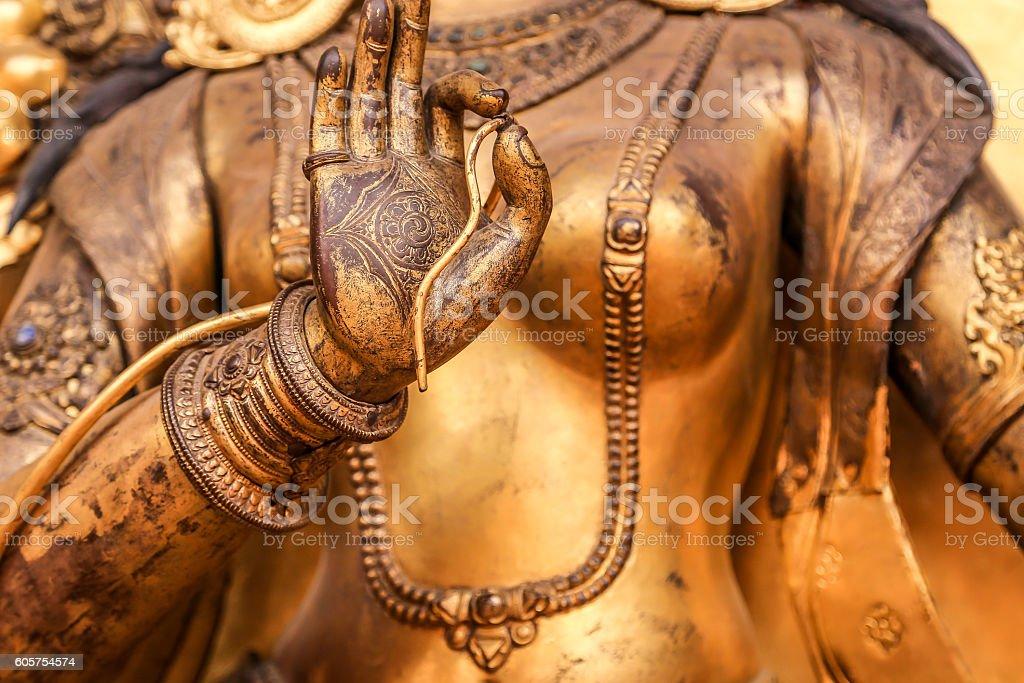 Bronze statue closeup, Nepal stock photo