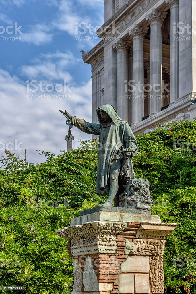Bronze statue depicting clemency at the capitol hill in rome stock photo