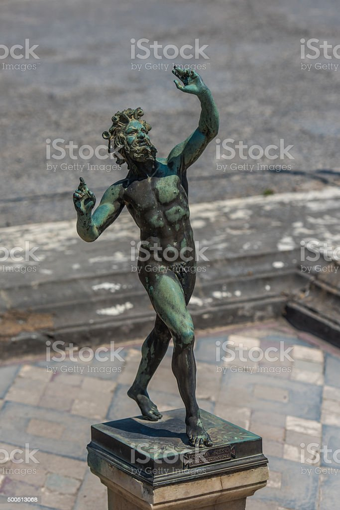 Bronze statue in House of the Faun, Pompeii, Italy stock photo