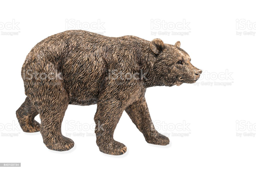 Bronze statue of a brown bear stock photo