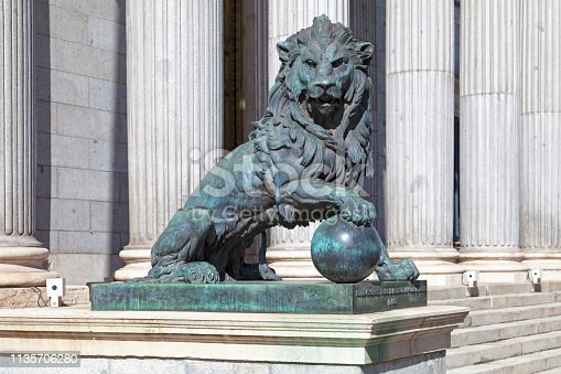 One of the bronze lions that flank the entrance of the Palacio de las Cortes (Building where the Spanish Congress of Deputies meet). The statue was created by Ponciano Ponzano in 1865.