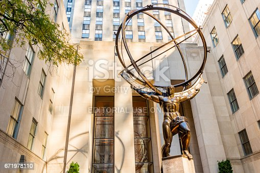 New York, USA, november 2016: Atlas is a bronze statue in front of Rockefeller Center in midtown Manhattan, New York City. The sculpture depicts the Ancient Greek Titan Atlas holding the heavens.