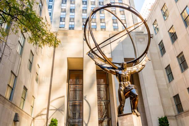 Bronze statue of Atlas in New York stock photo