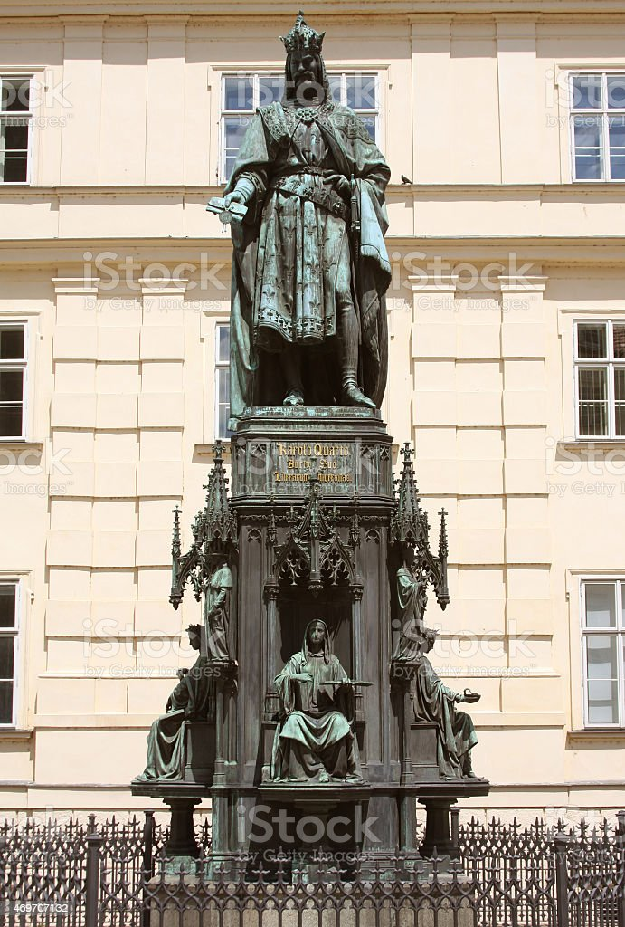 Bronze Statue Of Czech King Charles Iv In Prague stock photo