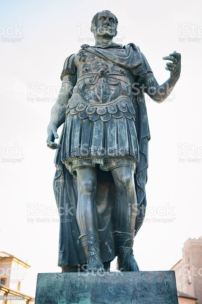 Bronze statue of Julius Caesar in Rome, Italy stock photo