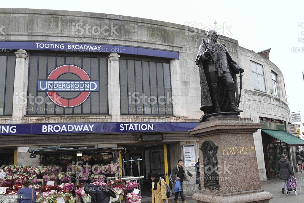 Statue King Edward VII Tooting Broadway Underground Station stock photo