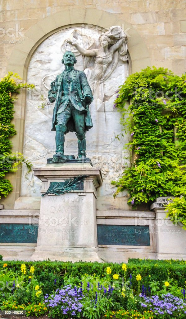 Bronze Statue of Major Davel in Chateau Saint-Maire in Lausanne, Switzerland, Europe. stock photo
