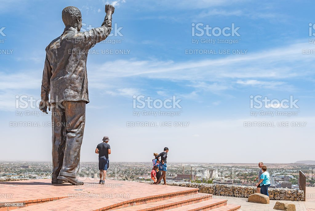 Bronze statue of Nelson Mandela on Naval hill stock photo