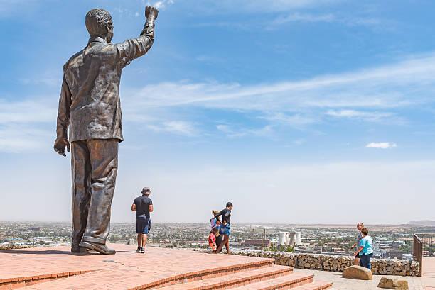 Bronze statue of Nelson Mandela on Naval hill stock photo