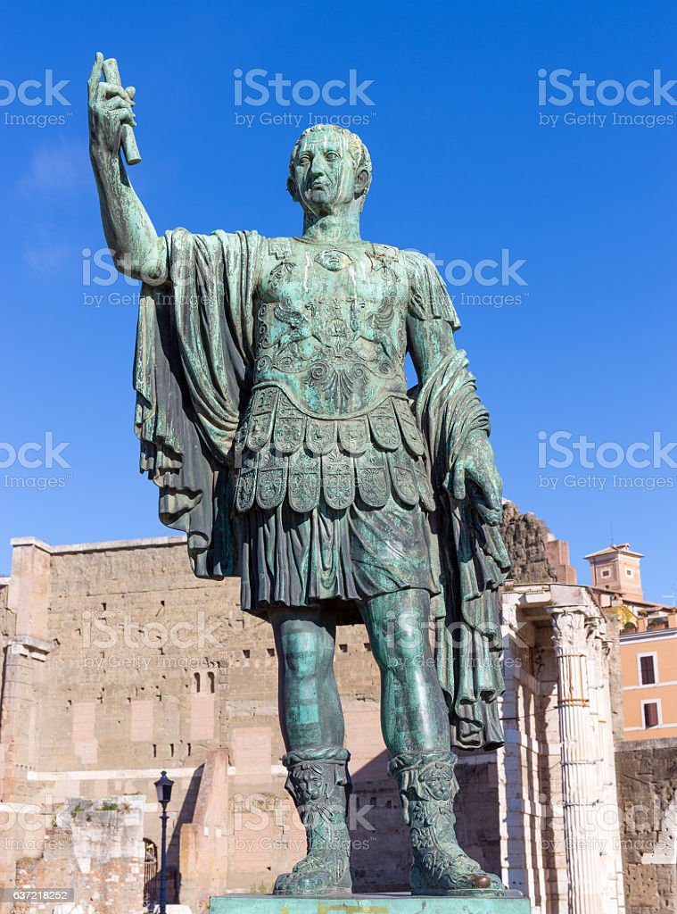 Bronze statue of Nerva in the Forum Romanum, Rome, Italy stock photo