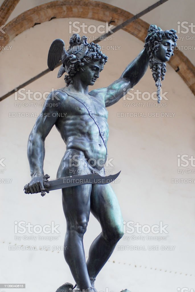 Bronze Statue Of Perseus Holding The Head Of Medusa By