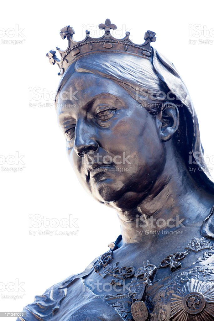 Bronze statue of Queen Victoria against white background, copy space stock photo