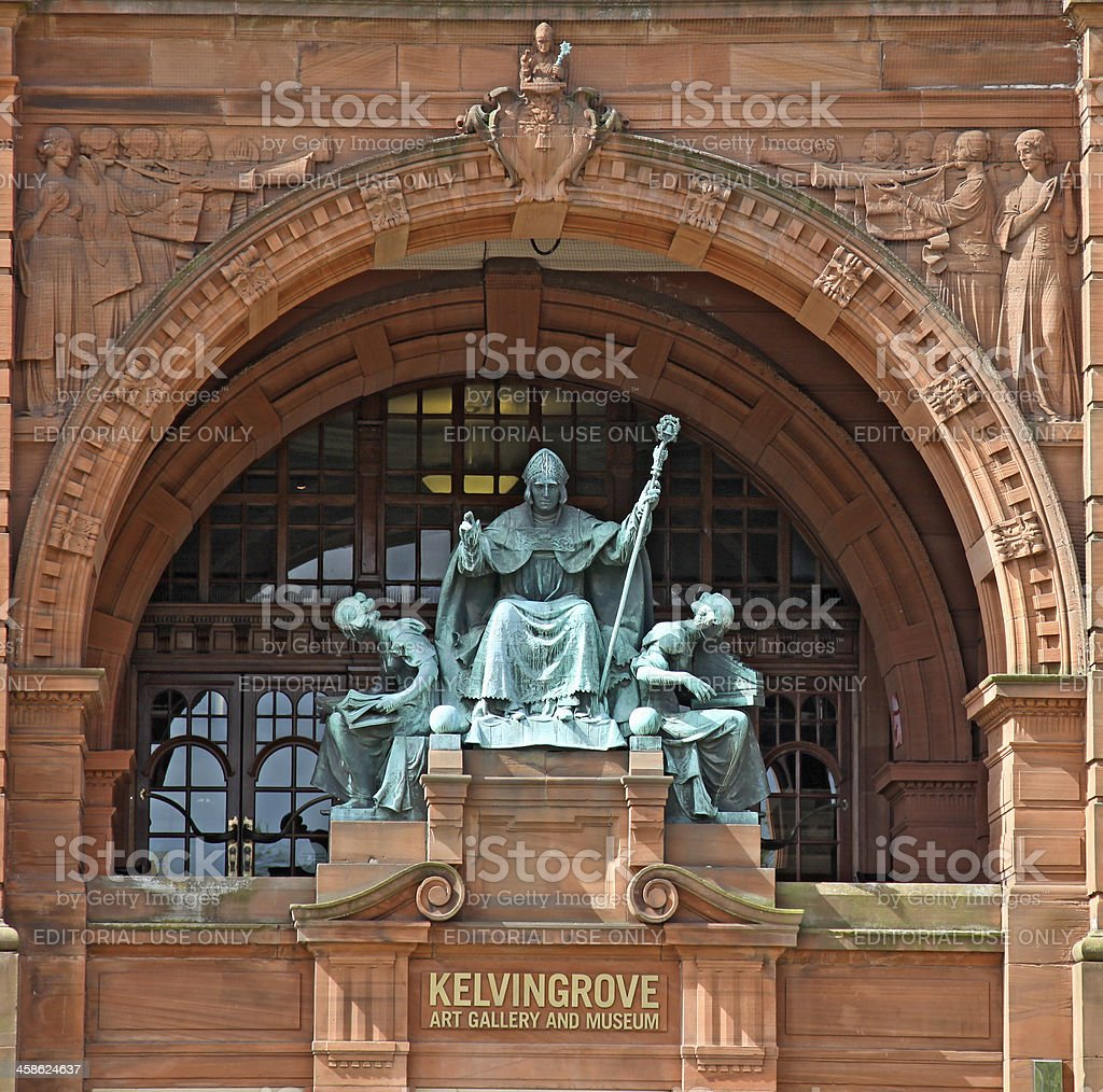 Bronze statue of St Mungo and two female figures, Glasgow stock photo