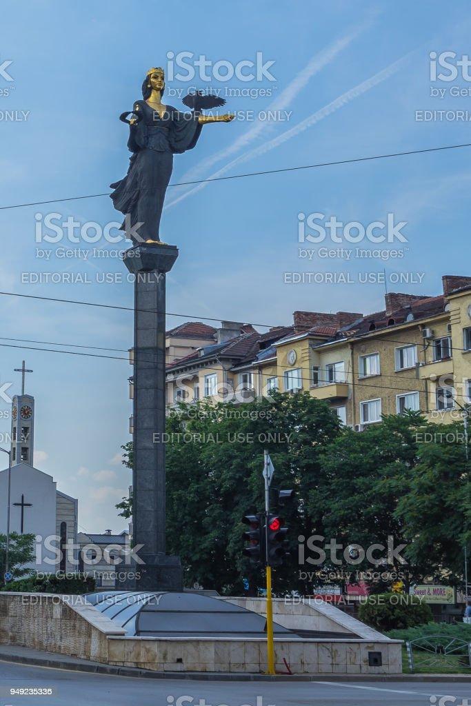 Bronze statue of St. Sophia (Sveta Sofia), the protector of the city, Bulgaria stock photo