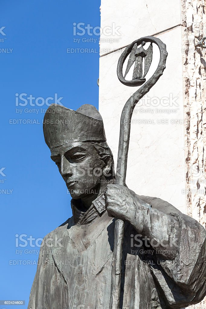 Bronze  statue of  St. Stanislaus , Church on Skalka,  Krakow, Poland stock photo