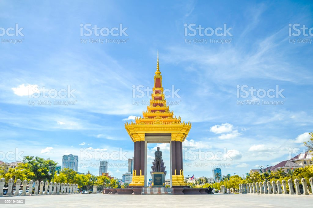 A bronze statue of the late King Father Norodom Sihanouk Statue at Phnom Penh stock photo