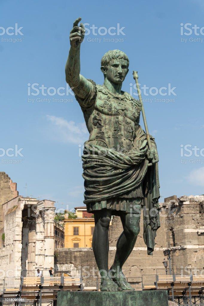 Bronze statue of the Roman Emperor Augustus Caesar stock photo