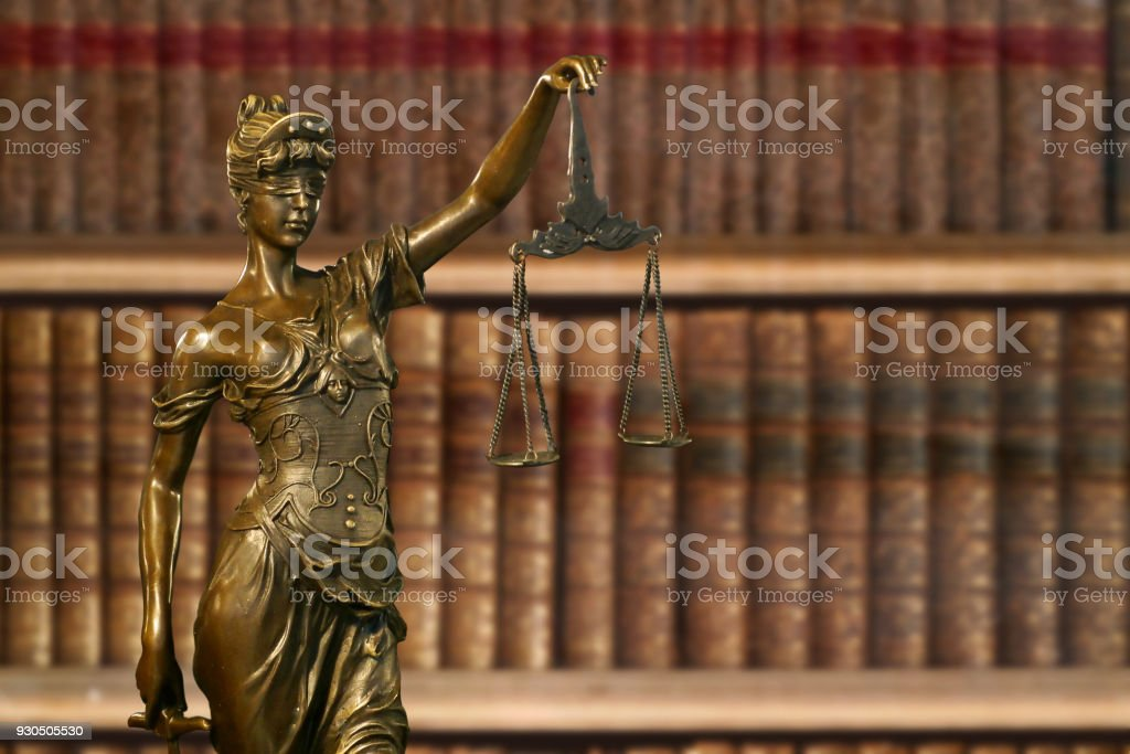 Bronze statuette of Lady Justice stock photo