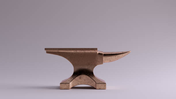 Bronze Traditional Anvil Right View Bronze Traditional Anvil Right View 3d illustration 3d render anvil stock pictures, royalty-free photos & images