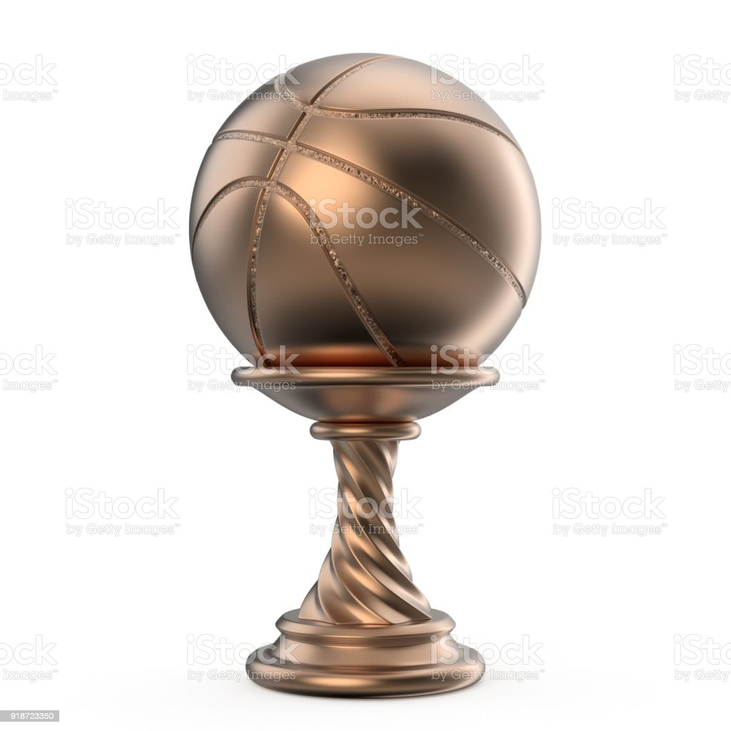 Bronze trophy cup BASKETBALL 3D stock photo
