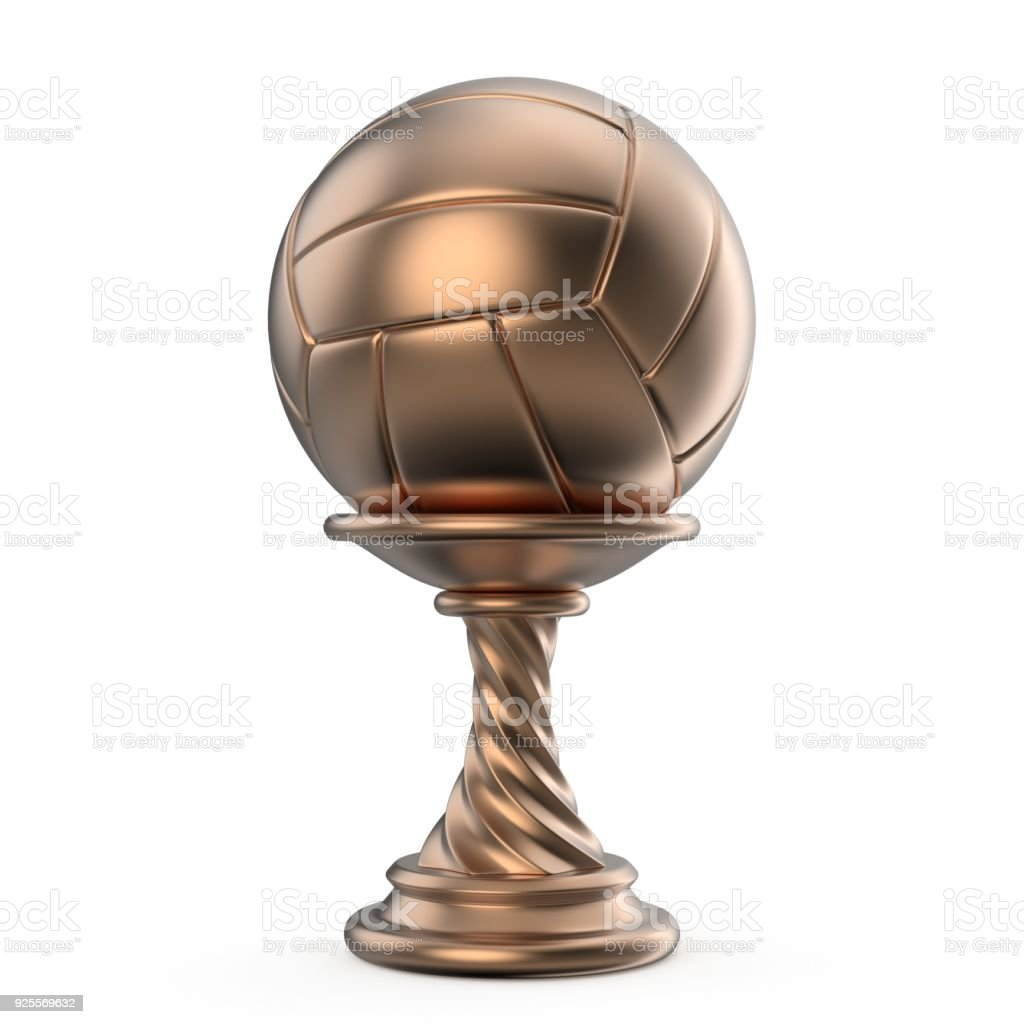 Bronze trophy cup VOLLEYBALL 3D stock photo