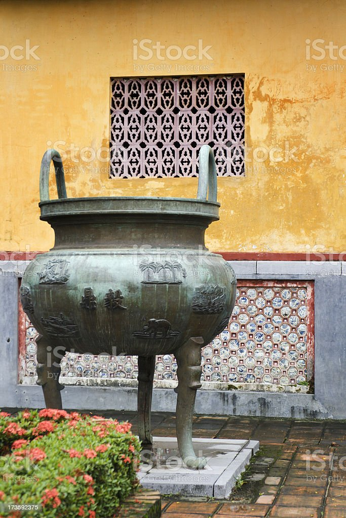 Bronze Urn in the Forbidden City at Hue royalty-free stock photo