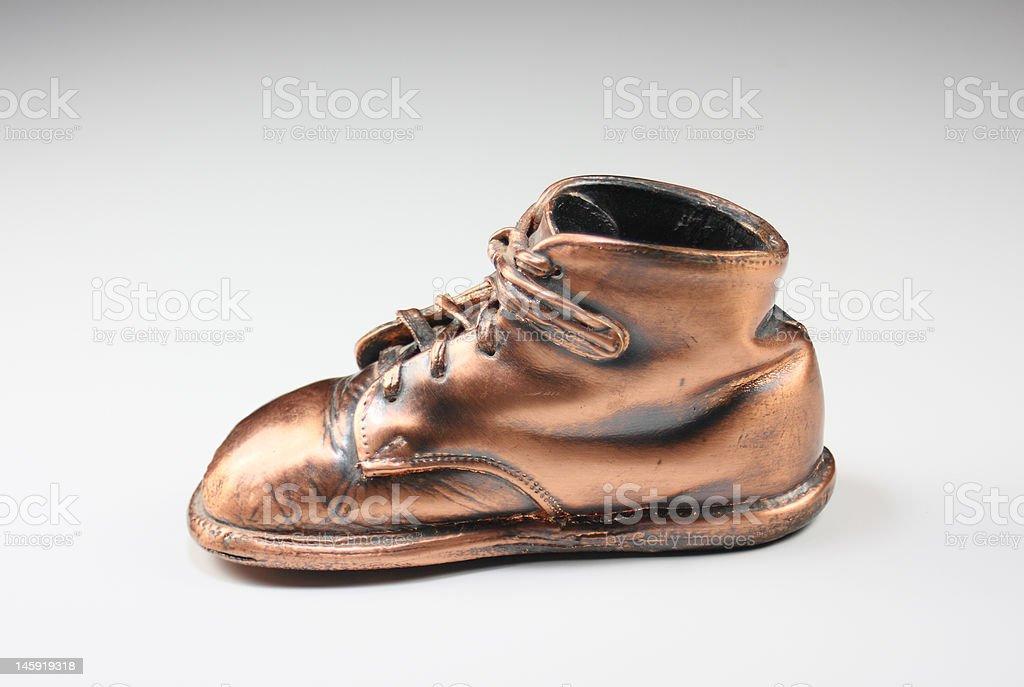 bronzed baby shoe royalty-free stock photo