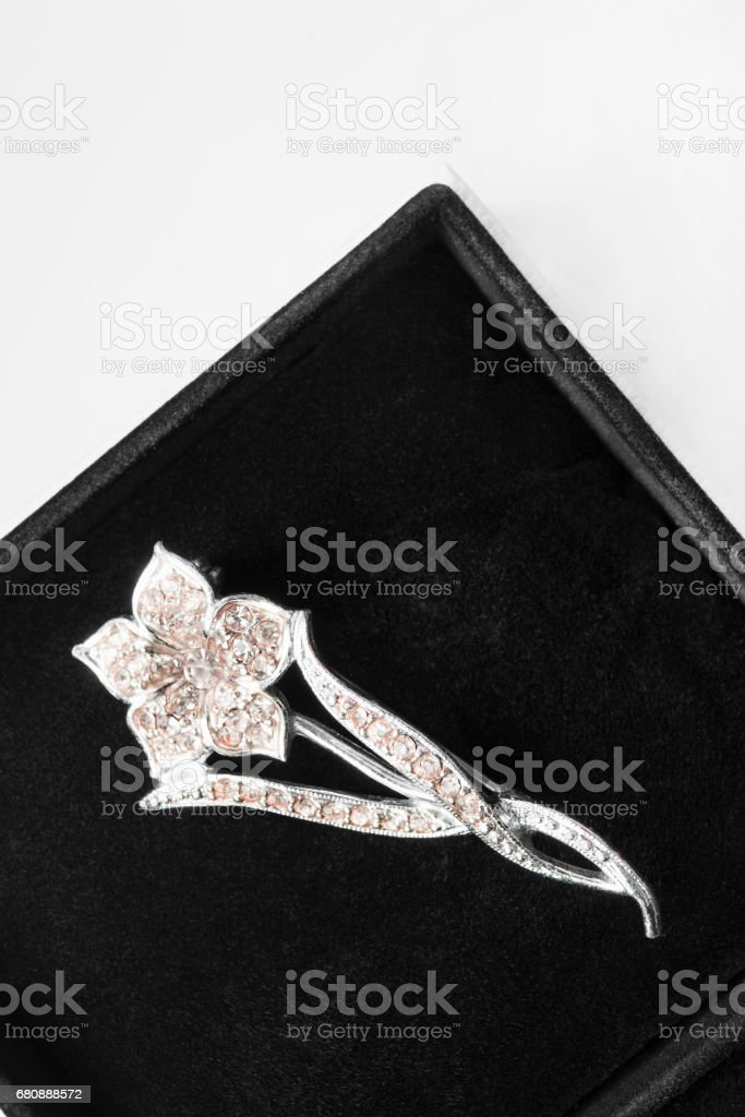 Brooch in a box royalty-free stock photo