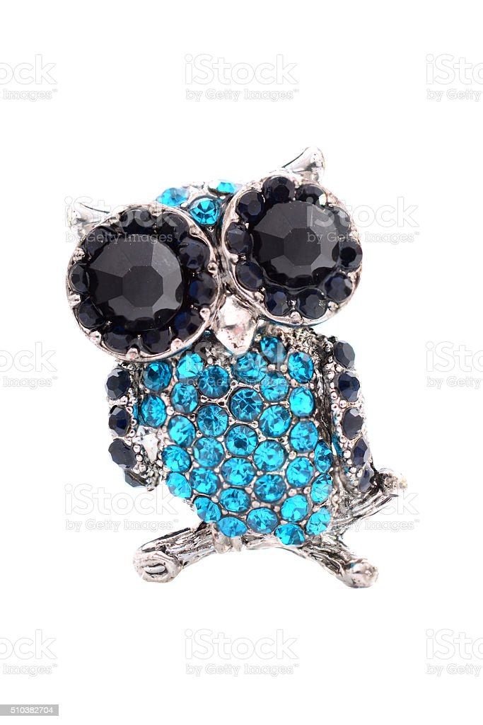 brooch in the form of an owl stock photo