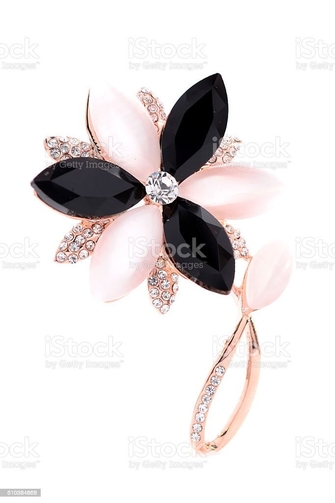 brooch in the shape of a flower stock photo