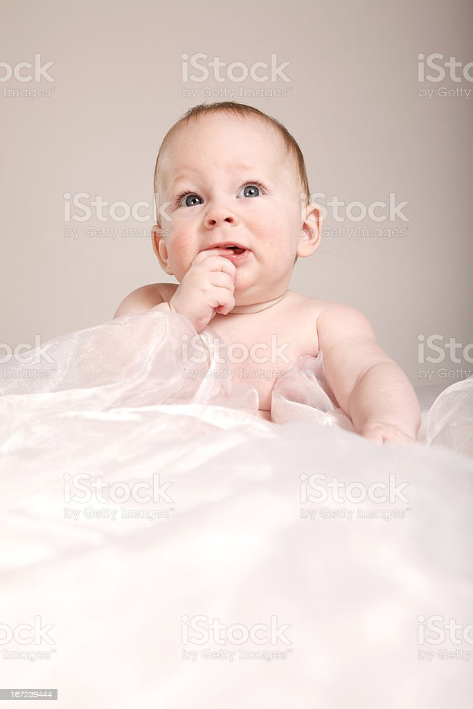 brooding baby on a white blanket royalty-free stock photo