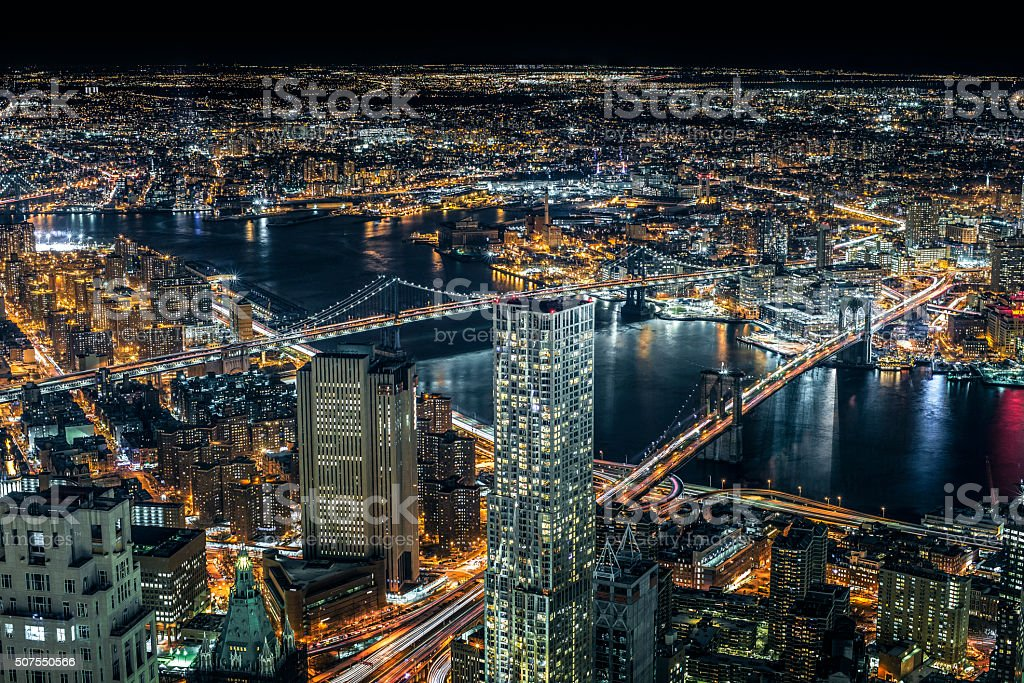 Brooklyn and Manhattan Bridge aerial view at night stock photo