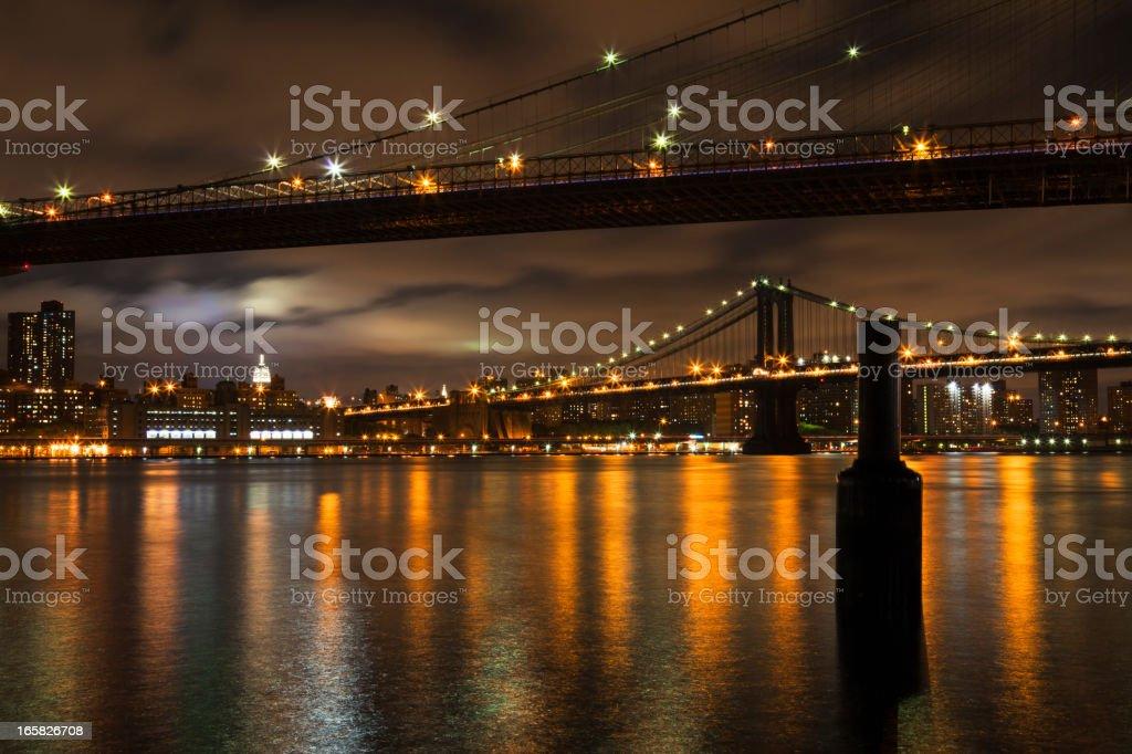 Brooklyn and Manhattan Bridge at night stock photo