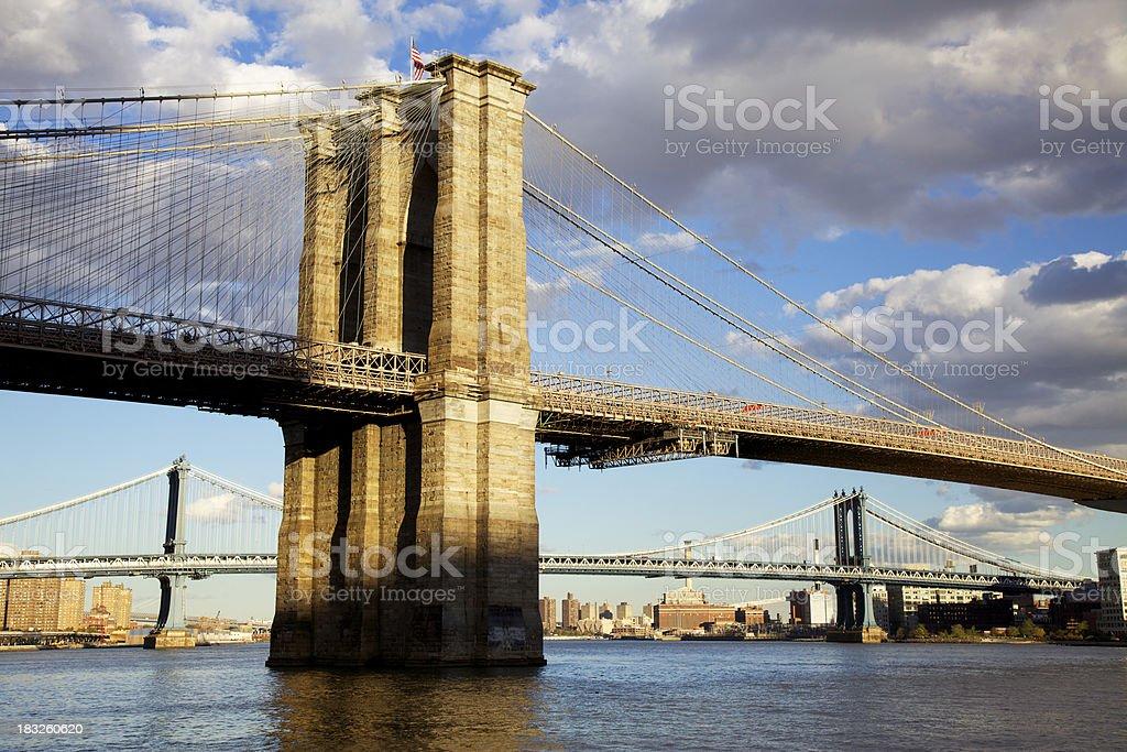 Brooklyn and Manhattan Bridges stock photo