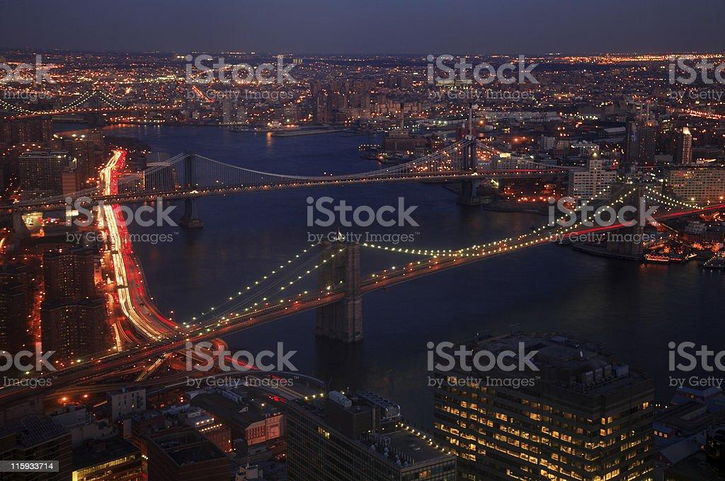 Brooklyn and Washington Bridge, New York, USA royalty-free stock photo