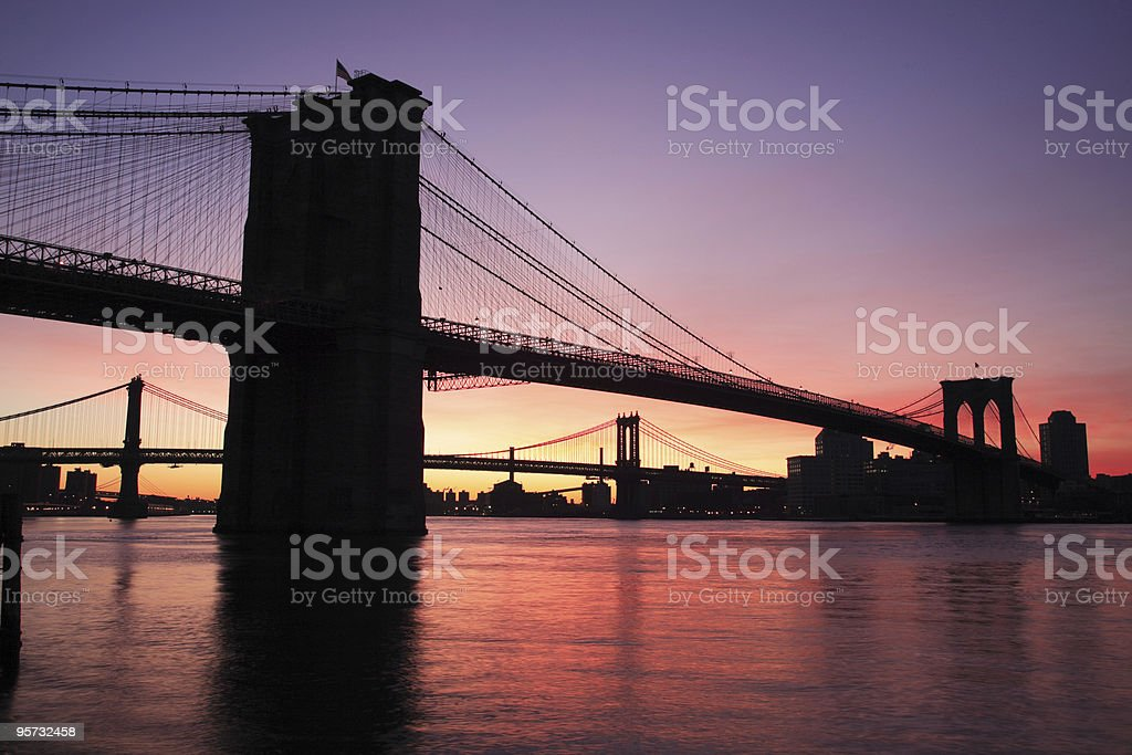 Brooklyn and Washington Bridge, New York, USA royalty-free stock photo