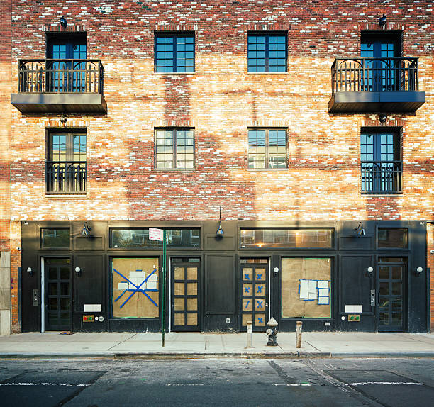 Brooklyn apartment buildings under renovation stock photo