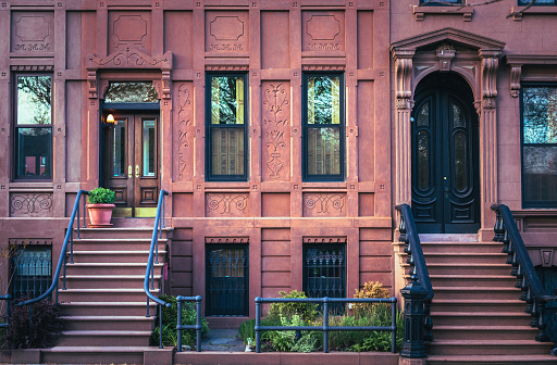 A row of Brooklyn brownstones