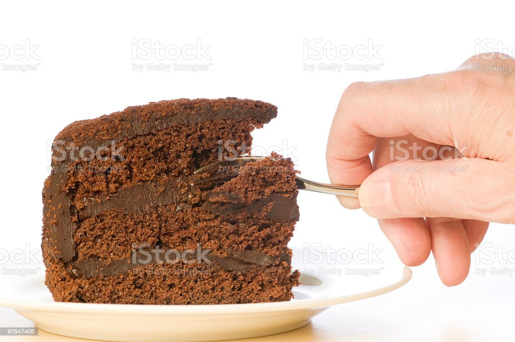 Brooklyn Blackout cake and fork royalty-free stock photo