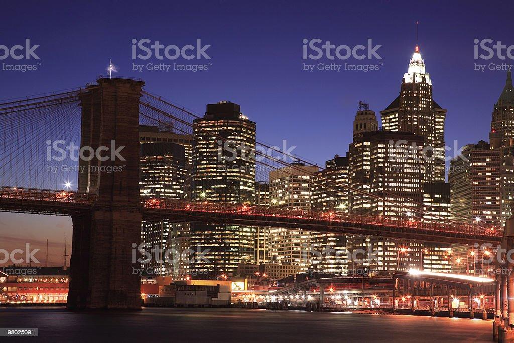Brooklyn Bridge against Downtown Manhattan royalty-free stock photo