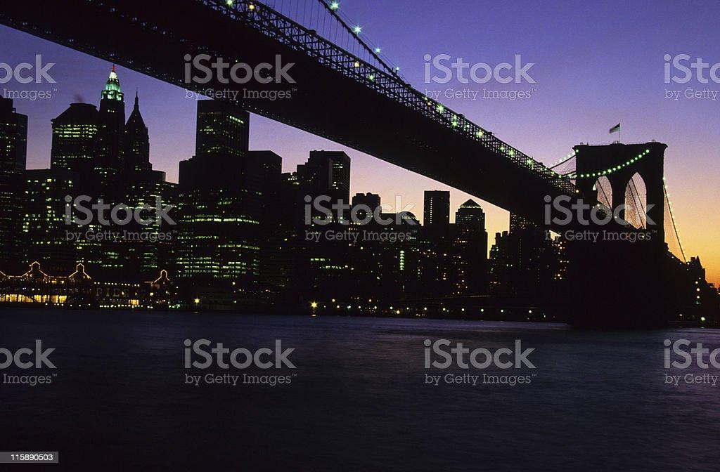 Brooklyn Bridge against the Manhattan skyline, New York, US royalty-free stock photo