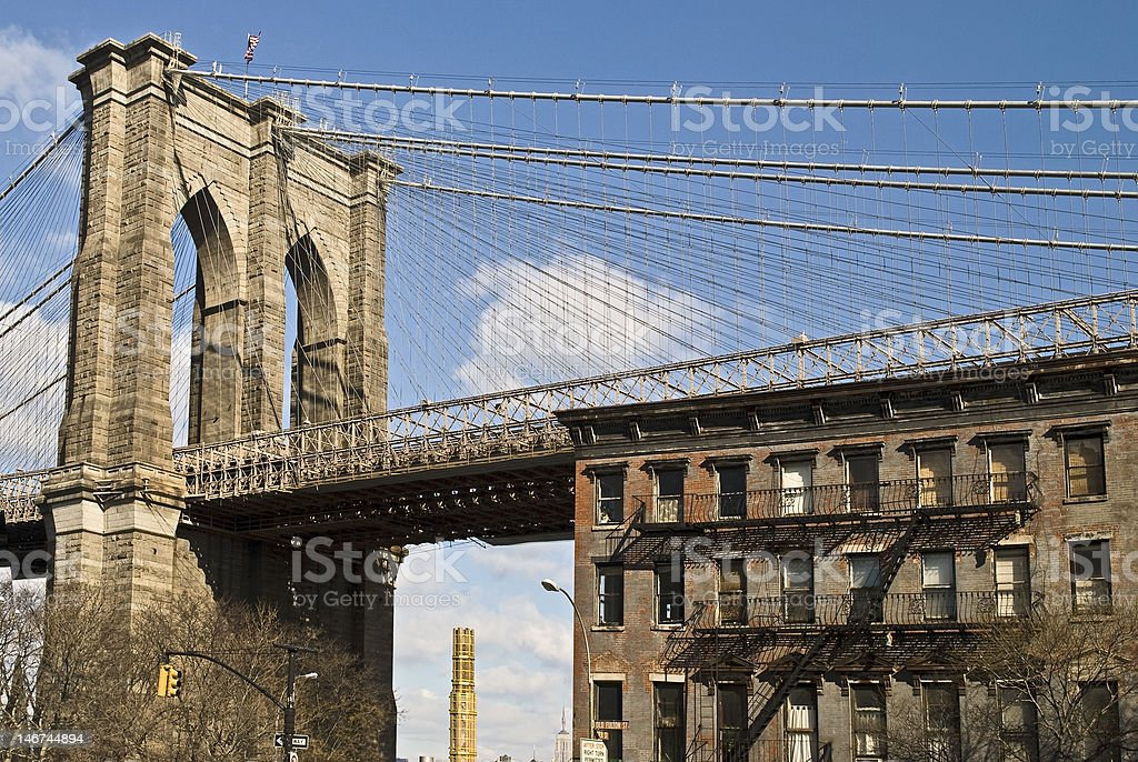 Brooklyn Bridge and Brownstone royalty-free stock photo