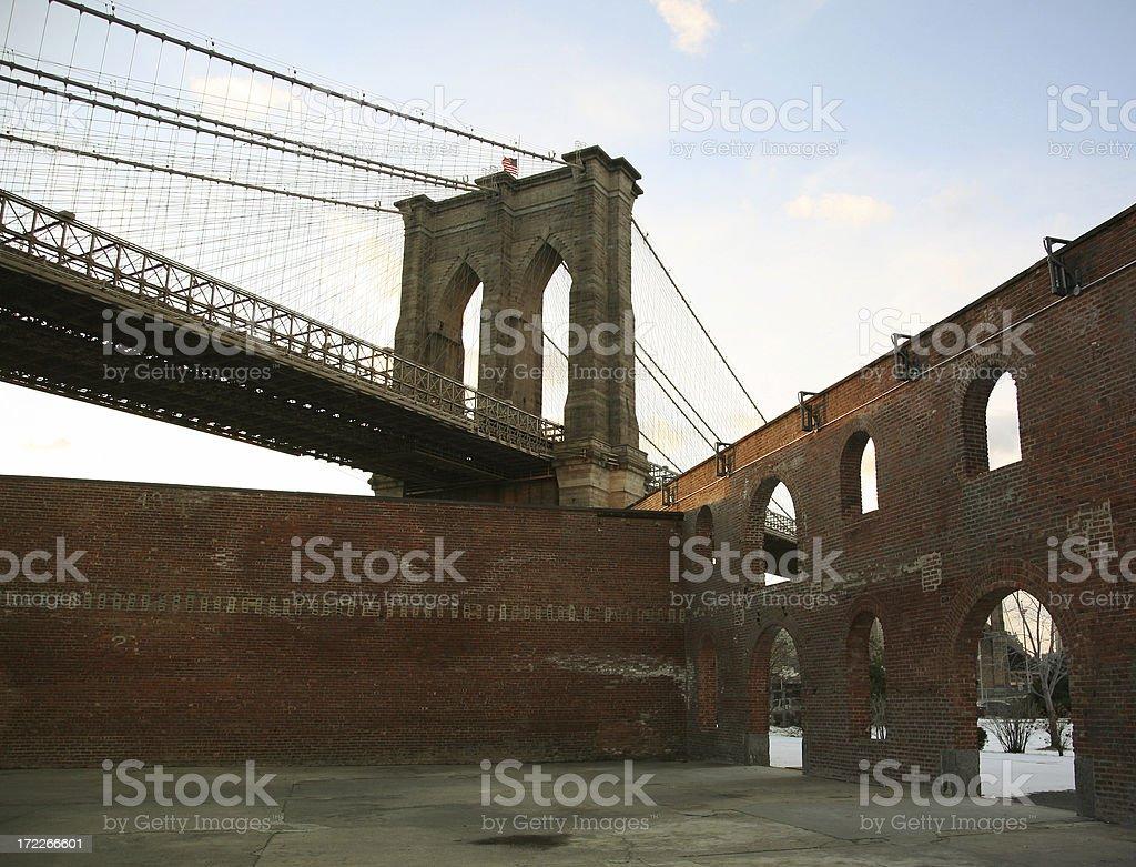Brooklyn Bridge And Building Facade royalty-free stock photo