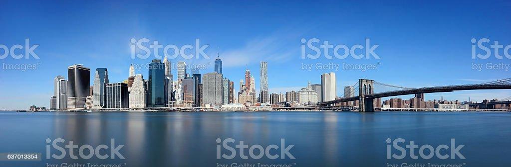 Brooklyn Bridge and downtown Manhattan stock photo