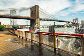 Famous touristic attraction, New York City Brooklyn bridge, Downtown Manhattan