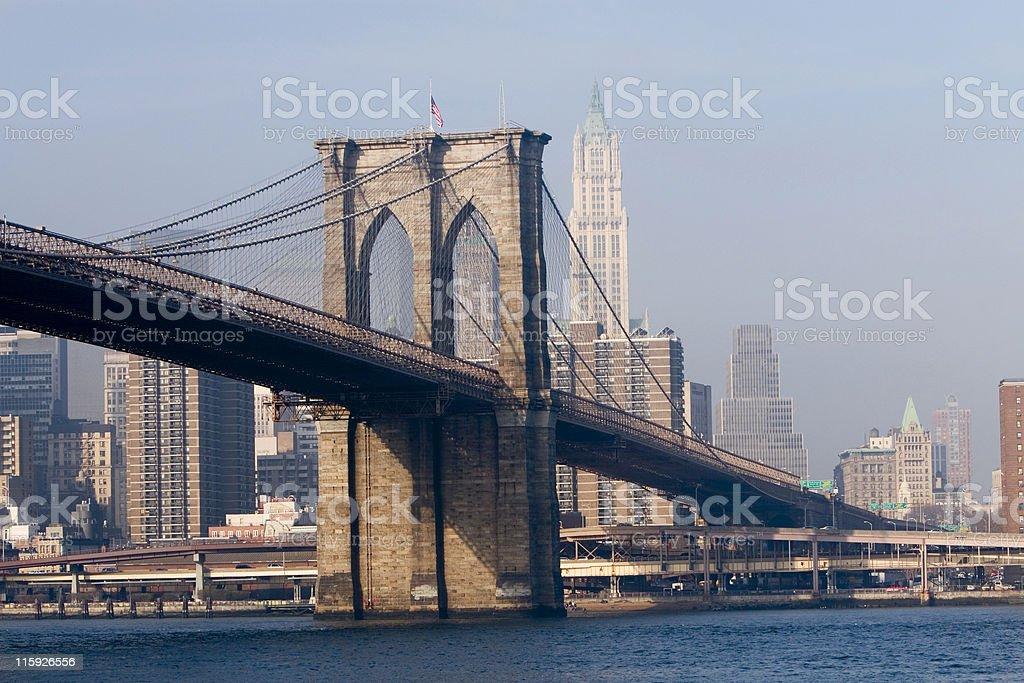 Brooklyn Bridge and FDR Drive royalty-free stock photo